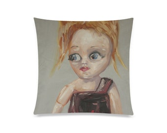 """Large Square """"Cutie"""" Doll Decor Pillow, Couch Pillow, Throw Pillow, Bed Pillow"""