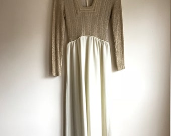 1970s Vintage Metallic Gold Disco Prom Evening Gown Women's Size Small