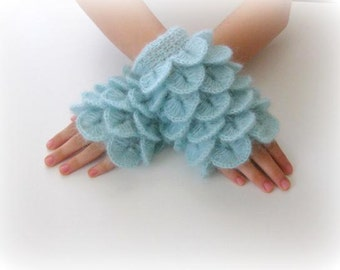 Fingerless Gloves , Turquoise, Light Blue,  Trendy, Grily, Teenie, Women, Flower