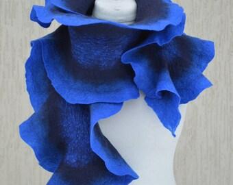 Dark blue almost black and royal blue scarf. Felted scarf Stole. Nuno felt scarf. Felt collar