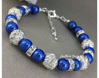 Royal Blue Bracelet Bridesmaid Bracelet Maid of Honor Gift Rhinestones Bracelet Royal Blue Wedding Gift for Her Destaintion Wedding