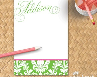 Addison Damask 5x7 Notepad - 50 or 100 Sheets - Personalized Floral Writing Paper - Custom Pad Stationary - Gift Set Option with Envelopes