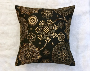 """LAST ONE Black and Gold Henna Print Pillow Cover 