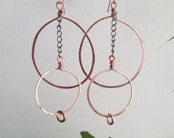 Round The Way Hoops. Funky hoops. Copper hoops. Copper wire wrapped earrings.  Copper earrings