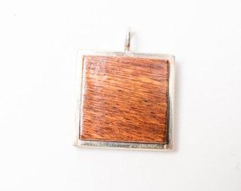 Bocote Wood Silver Pendant