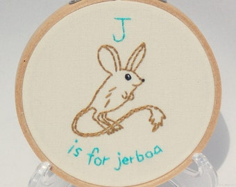 J is for Jerboa Alphabet Art - Embroidered Wall Art - Kangaroo Mouse - J Name Art