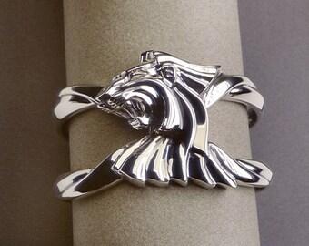 LION CUFF BRACELET in antiqued Sterling