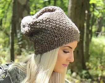 Slouchy Hat, Crochet Hat, Crochet Beanie, Slouch Beanie Hat, Brown Hat, Crochet Slouchy Hat, Hipster Hat, Slouch Hat, Tan Beanie, THE DENALI