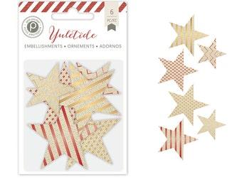 Pink Paislee Yuletide DieCut Canvas Stars  -- MSRP 4.00