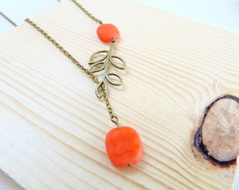 Asymmetrical Leaf necklace Orange and antique brass necklace Bridesmaid Gift Halloween/Fall wedding Jewelry, Lariat necklace, Nature, Autumn