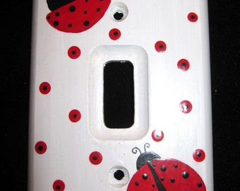 LADY BUGS - Single Switch Plate Cover - Hand Painted