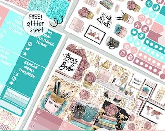 Girl Boss - KIT - PRINTABLE silhouette cut file , Mother's Day kit stickers,  printable planner stickers Erin Condren Life Planner