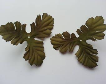 lot de 2 triples feuilles artificielles en tissu  vertes  10cm