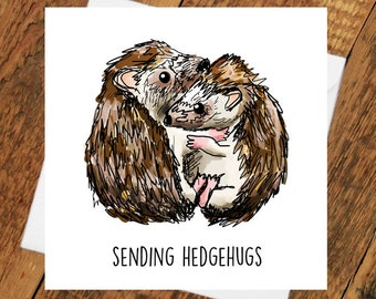 Hedgehog Card Thinking of you Hedgehug sympathy miss you pun cute animal funny hugs missing girlfriend love him her wife husband