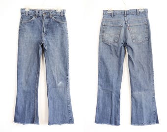 70s Levis Blue Jeans Orange Tab 1970s Boyfriend Jeans Cropped Flares Frayed Flared Denim Distressed Pants Extra Small XS 26 27 28