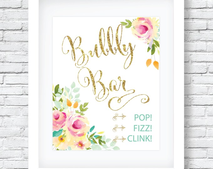 "Bubbly Bar Sign 8x10"" // Printed //Mimosas // Brunch & Bubbly // Monograms // Made to Match our MALIBU COLLECTION"