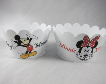 Set of 12  Mickey and Minnie Mouse cupcake wrappers