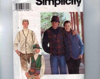 Misses Sewing Pattern Simplicity 9770 Unisex Mens Misses Quilted Vest Hat Cap Hunting Size XS S M L XL Chest Bust 30-40 or 42-48 UNCUT  99