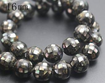 16mm Natural Black Abalone Mosaic Round Beads