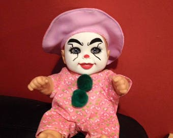 Pink Clown Baby, creepy doll