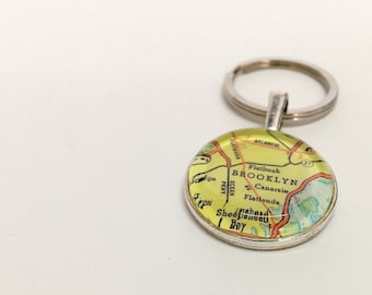 NEW Vintage Map Keychain fob- Brooklyn NY - In Stock ready to ship - guy gift, custom gift