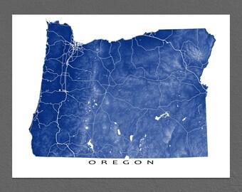 Oregon Map, Oregon State Art Print, USA, Portland