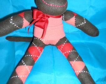 Sock Monkey Doll Argyle Socks Brown Orange Coral