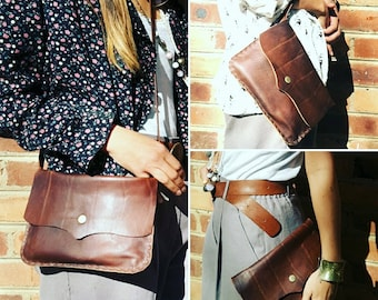 NANCI 3-in-1 leather clutch,  crossbody bag and wrist clutch