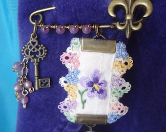 Bronze Tone Fleur De Lis Pin Brooch Upcycled Vintage Tatting Embroidery Flower Mini Key Charm Cup Saucer Charm OOAK - Atlantic Rock Threads