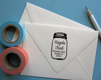 Return address stamp with mason jar, black self inking stamp, rubber stamp wood handle