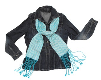 Turquoise Silk Scarf Handwoven, Hand Dyed Silk Scarf, White and Light Blue Scarf Fall, Hand Woven Scarf Ladies, Blue and White Scarf Men