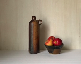 Stoneware Bottle * Antique German Salt Glazed Bottle * Pottery * Mineral Water Bottle *  Brown Meade Bottle