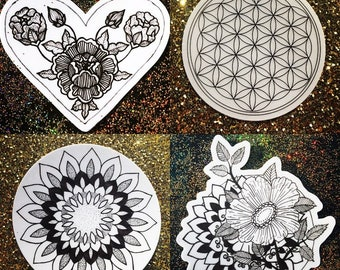 Hand Drawn Mandala and Floral Weather Proof Stickers
