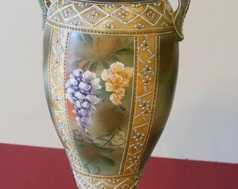Hand Painted Embossed 12-inch Vintage Vase