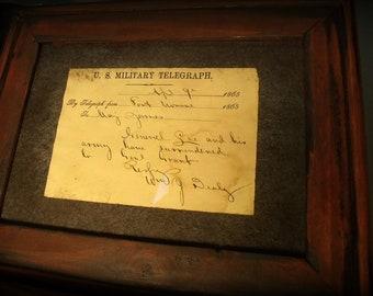 Telegraph of General Robert E. Lee's surrender.