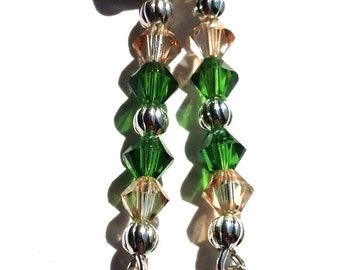Fern Green and Golden Shadow Swarovski Earrings