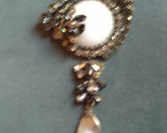 Dramatic Large Brooch Black Diamond Rhinestones Grey Pearl Drop Vintage Austrian Mint Item # 932 Jewelry