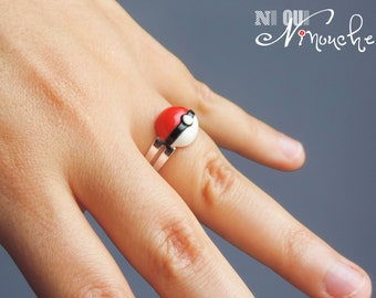 Classic red pokeball (fimo) geeky pokemon go red and white ring adjustable Pokémon go original gamer geek Christmas gift idea