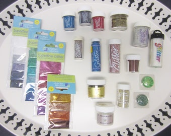 Glitter & Embossing Powder Mixed Lot of 13 Jars + 4 Packs of Resealable Bags Gold Silver Metallic Blue Pink Blue Red Green Holographic