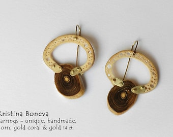Earrings, Unique jewellery, Gold coral, Horn, Gold 14 ct