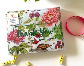 Box Set Thank You Cards - Watercolor Peonies and Snails Notecards - set of six with envelopes