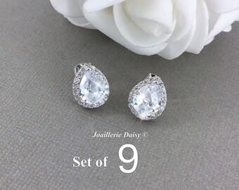 Set of 9 Stud Earrings CZ Earrings Wedding Earrings Bridesmaid Earrings White Crystal Teardrop Gift for Her Bridesmaid Jewelry Gift
