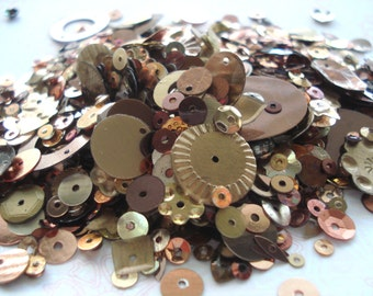 20g Pack of Bronze Coloured Mixed Sequins, Brown and Gold Sequins, Half-Price Sequins!! BD05