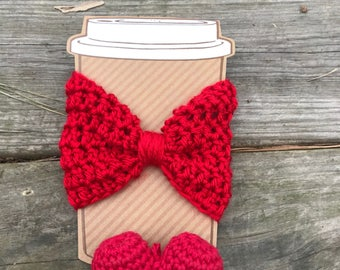 Crochet bow Coffee Cozy, Crochet Coffee cup Cozy, Teacher gift, Cup Sleeve - Red bow cup cozy for hot and cold drinks, coffee lovers gift