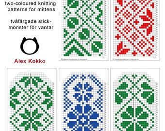 5 knitting patterns for mittens / 5 kirjoneulemallia lapasille