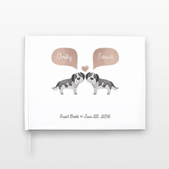 ST BERNARD Dog Wedding Guestbook, Unique Wedding Guest Book Wedding Gift, Hardcover Personalized Journal Couple Notebook Animal Wedding Book