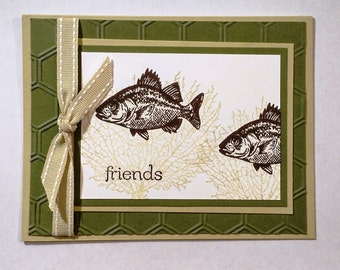 Friends, Fish, Masculine, Outdoor Sports, Guy Card, Friendship, Just Because, Blank Card, Thank You, Birthday, Sympathy, Thinking of You