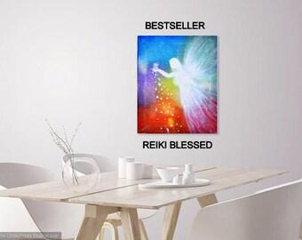 Angel art Canvas print  for energy healing - 10x8 inch angel artwork ideal as angel room art prayer room art or angel gift