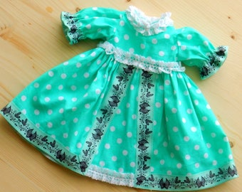 Doll clothes Mint Dress Polka Dot Dress For 18 Inch Doll Cotton Dress For Doll Dress For Waldorf Doll Clothes For Rag Doll Lush Dress Nature