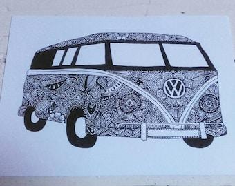 A5 Art print - Henna Mehndi art - VW Camper - Campervan - Zentangle - Mandala